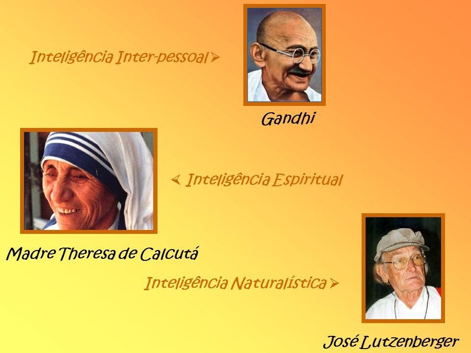 Inteligência Inter-pessoal Gandhi Inteligência Espiritual Madre Theresa de Calcutá Inteligência Naturalística José Lutzenberger