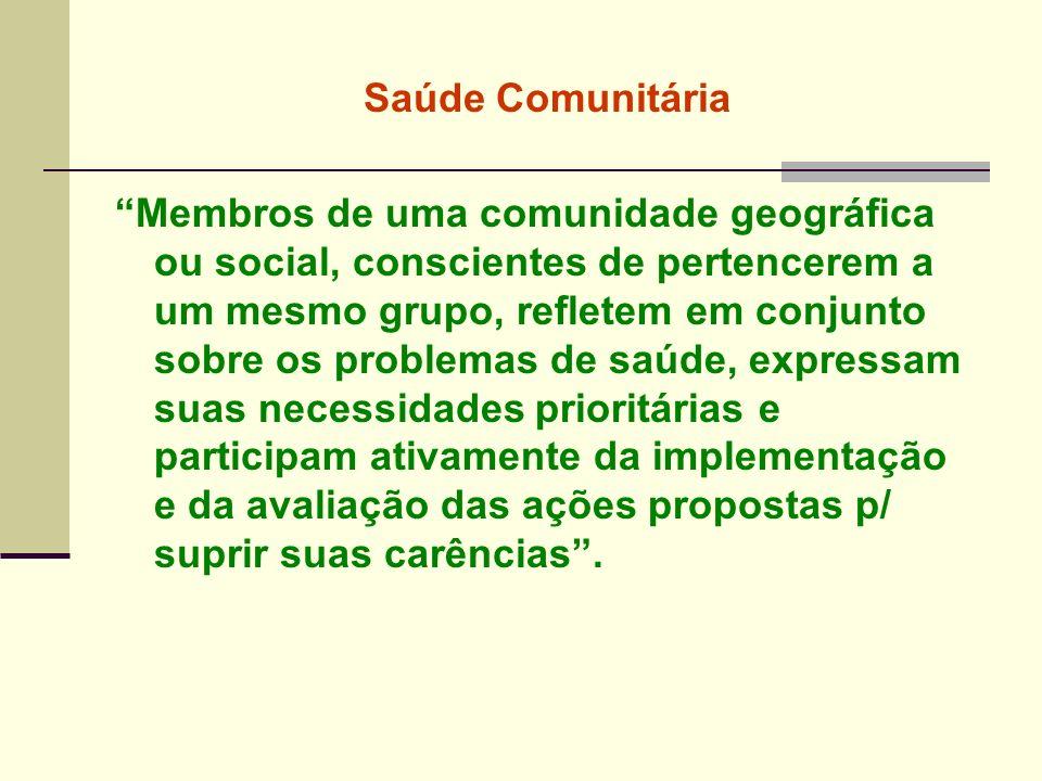 Saúde Comunitária Membros de uma comunidade geográfica ou social, conscientes de pertencerem a um mesmo grupo, refletem em conjunto sobre os problemas