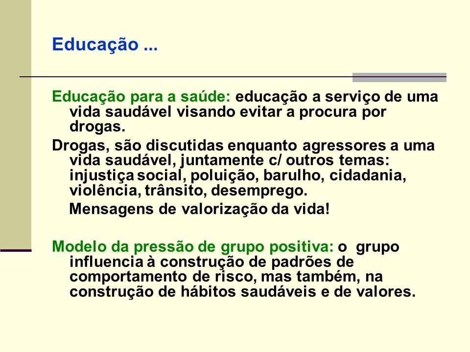 Educação... Educação para a saúde: educação a serviço de uma vida saudável visando evitar a procura por drogas. Drogas, são discutidas enquanto agress
