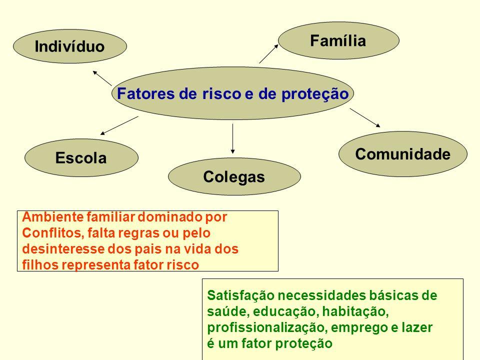 Fatores de risco e de proteção Indivíduo Família Comunidade Escola Colegas Ambiente familiar dominado por Conflitos, falta regras ou pelo desinteresse