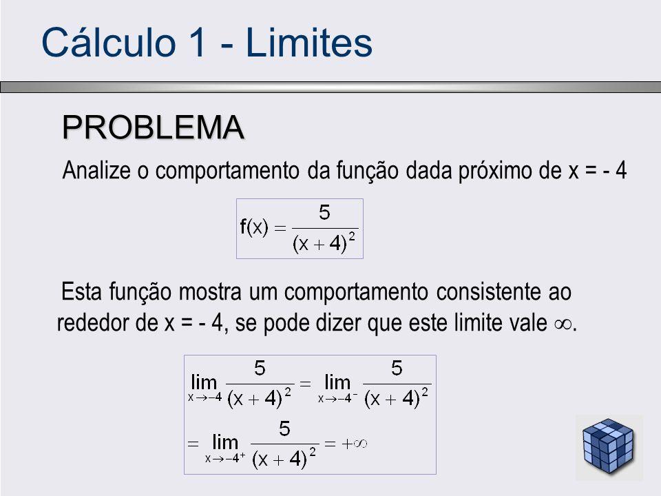 Cálculo 1 - LimitesPROBLEMA Analize o comportamento da função dada próximo de x = - 4 Esta função mostra um comportamento consistente ao rededor de x