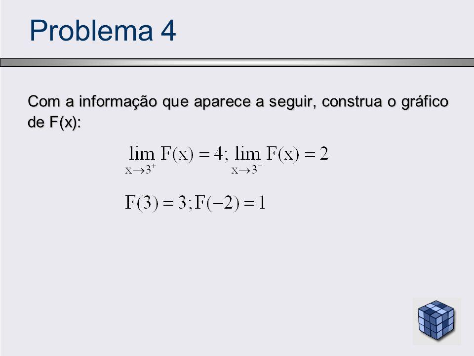 Problema 4 Com a informação que aparece a seguir, construa o gráfico de F(x): Com a informação que aparece a seguir, construa o gráfico de F(x):