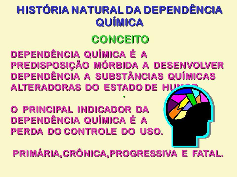 HISTÓRIA NATURAL DA DEPENDÊNCIA QUÍMICA CONCEITO.. DEPENDÊNCIA QUÍMICA É A PREDISPOSIÇÃO MÓRBIDA A DESENVOLVER DEPENDÊNCIA A SUBSTÂNCIAS QUÍMICAS ALTE