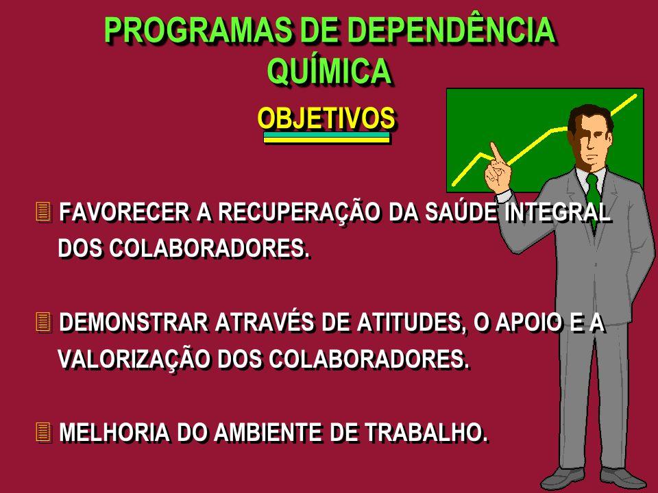 PROGRAMAS DE DEPENDÊNCIA QUÍMICA 3 FAVORECER A RECUPERAÇÃO DA SAÚDE INTEGRAL DOS COLABORADORES. 3 DEMONSTRAR ATRAVÉS DE ATITUDES, O APOIO E A VALORIZA