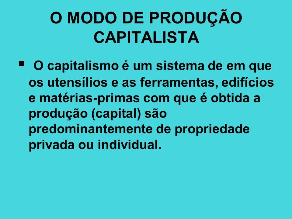O MODO DE PRODUÇÃO CAPITALISTA O capitalismo é um sistema de em que os utensílios e as ferramentas, edifícios e matérias-primas com que é obtida a pro