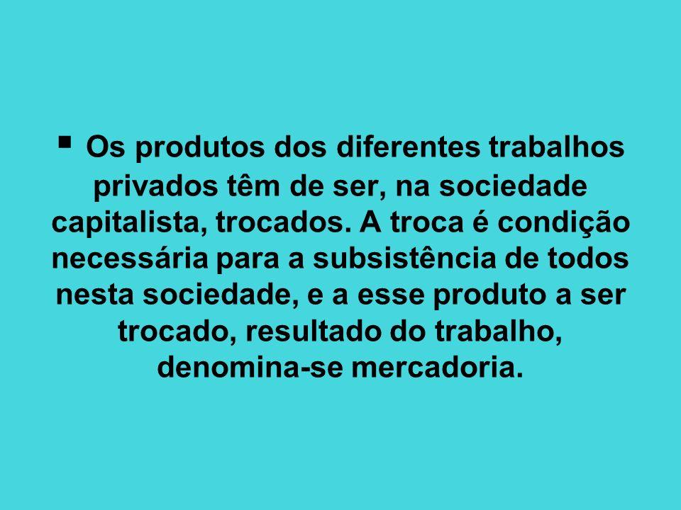 Os produtos dos diferentes trabalhos privados têm de ser, na sociedade capitalista, trocados. A troca é condição necessária para a subsistência de tod