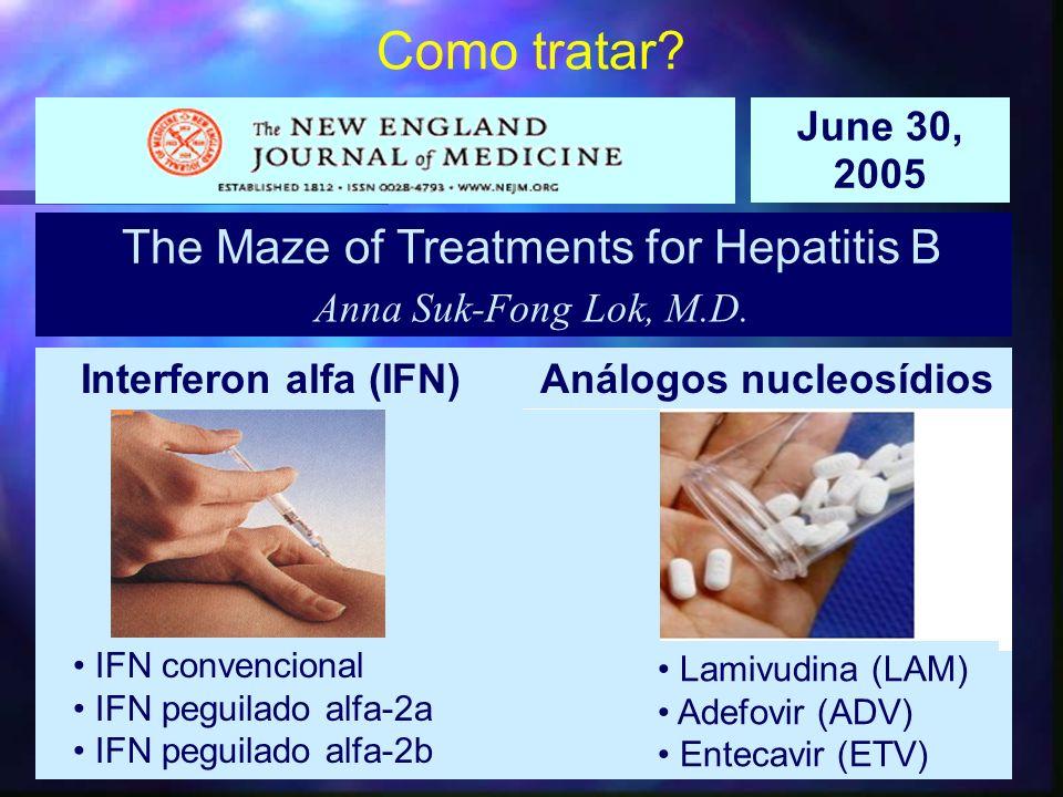 ap The Maze of Treatments for Hepatitis B Anna Suk-Fong Lok, M.D. June 30, 2005 Interferon alfa (IFN) Análogos nucleosídios Lamivudina (LAM) Adefovir