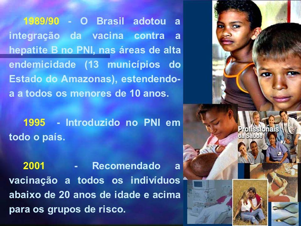 1989/90 - O Brasil adotou a integração da vacina contra a hepatite B no PNI, nas áreas de alta endemicidade (13 municípios do Estado do Amazonas), est