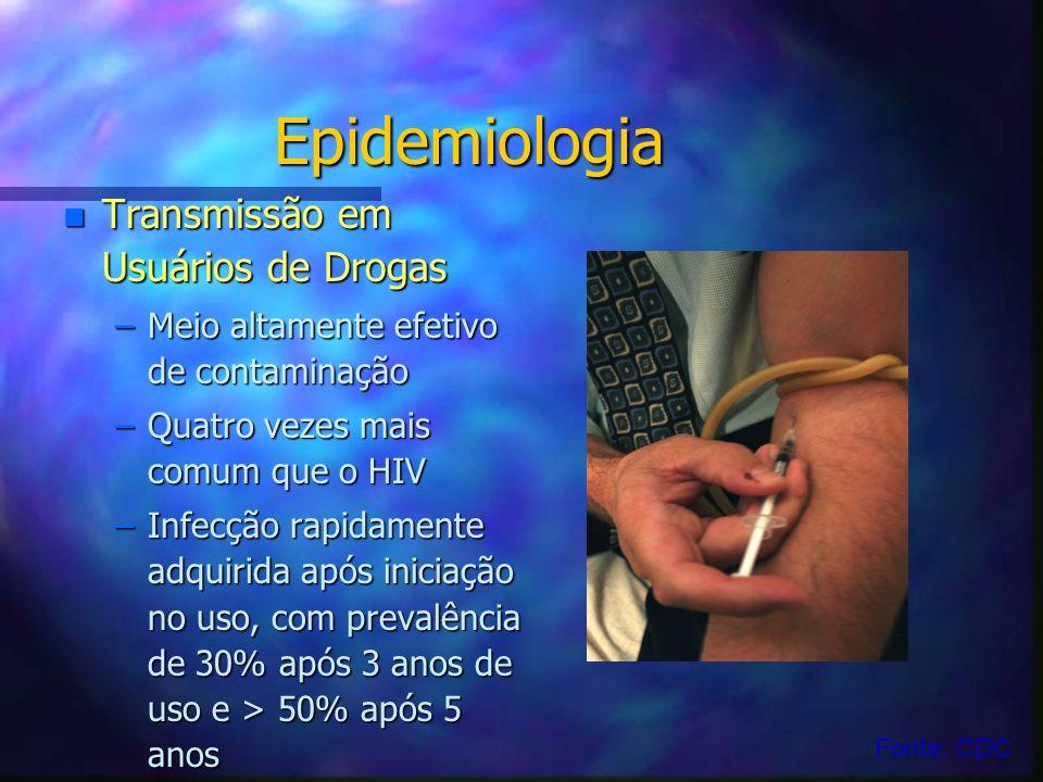 Epidemiologia n Transmissão em Usuários de Drogas –Meio altamente efetivo de contaminação –Quatro vezes mais comum que o HIV –Infecção rapidamente adq