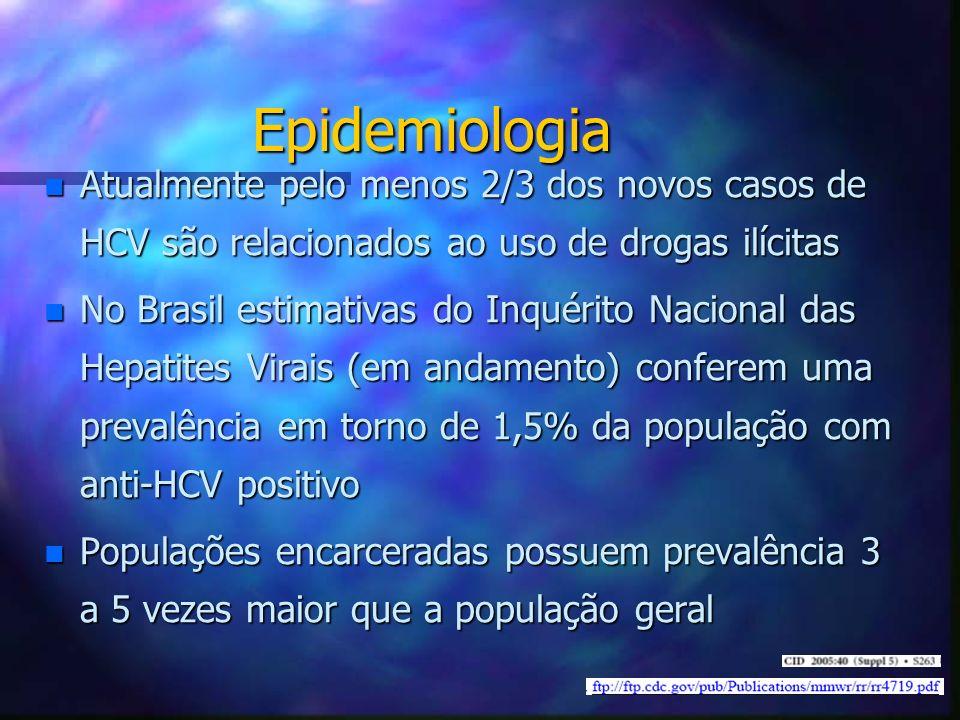 Epidemiologia n Atualmente pelo menos 2/3 dos novos casos de HCV são relacionados ao uso de drogas ilícitas n No Brasil estimativas do Inquérito Nacio