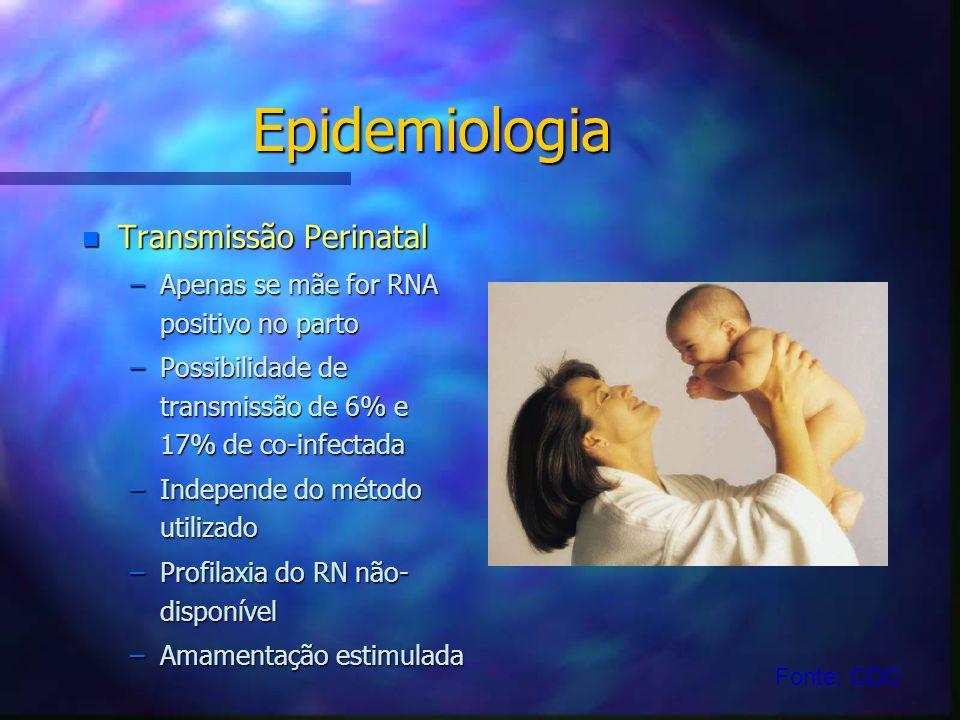 Epidemiologia n Transmissão Perinatal –Apenas se mãe for RNA positivo no parto –Possibilidade de transmissão de 6% e 17% de co-infectada –Independe do