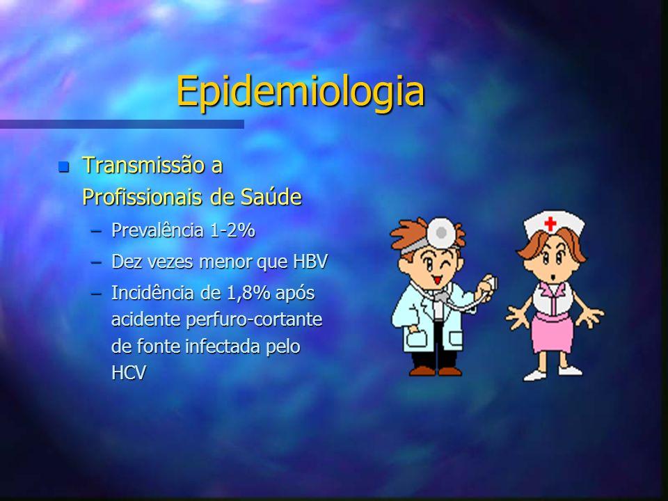 Epidemiologia n Transmissão a Profissionais de Saúde –Prevalência 1-2% –Dez vezes menor que HBV –Incidência de 1,8% após acidente perfuro-cortante de