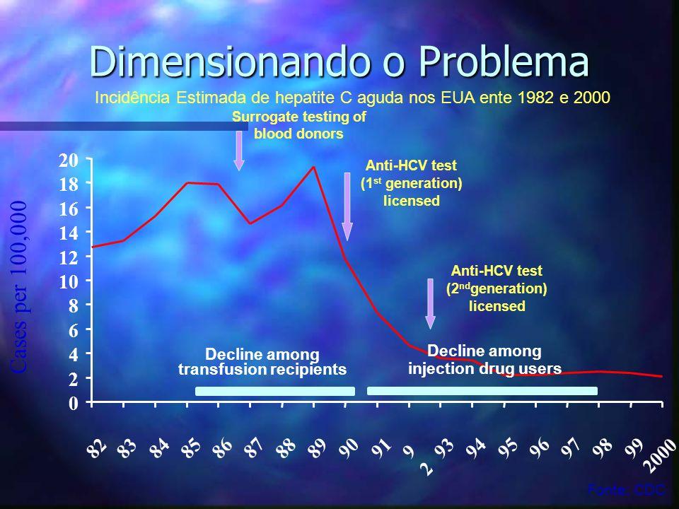Dimensionando o Problema 0 2 4 6 8 10 12 14 16 18 20 82 83 84 8586 87 88 8990 91 9292 93 94 95 96 97 98 99 2000 Cases per 100,000 Decline among transf