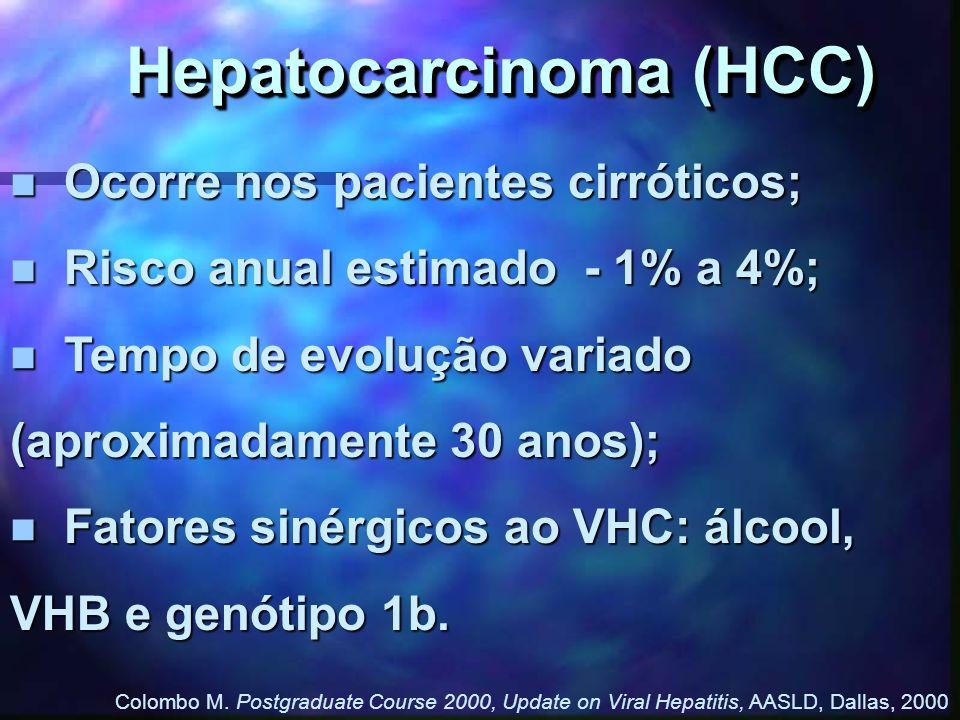 Hepatocarcinoma (HCC) n Ocorre nos pacientes cirróticos; n Risco anual estimado - 1% a 4%; n Tempo de evolução variado (aproximadamente 30 anos); n Fa