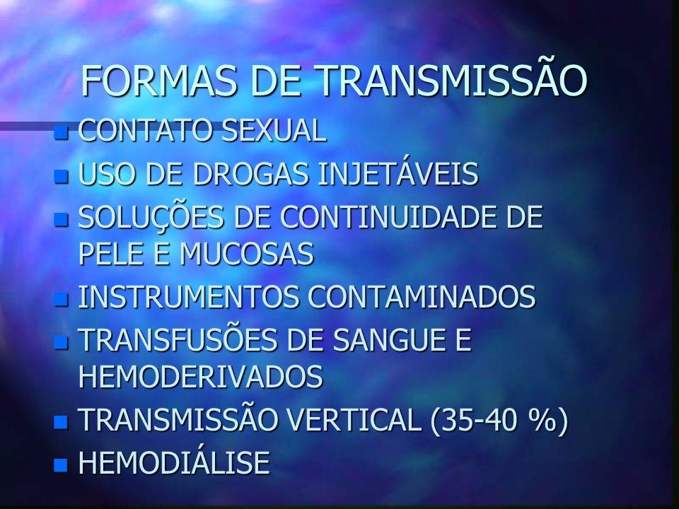 FORMAS DE TRANSMISSÃO n CONTATO SEXUAL n USO DE DROGAS INJETÁVEIS n SOLUÇÕES DE CONTINUIDADE DE PELE E MUCOSAS n INSTRUMENTOS CONTAMINADOS n TRANSFUSÕ