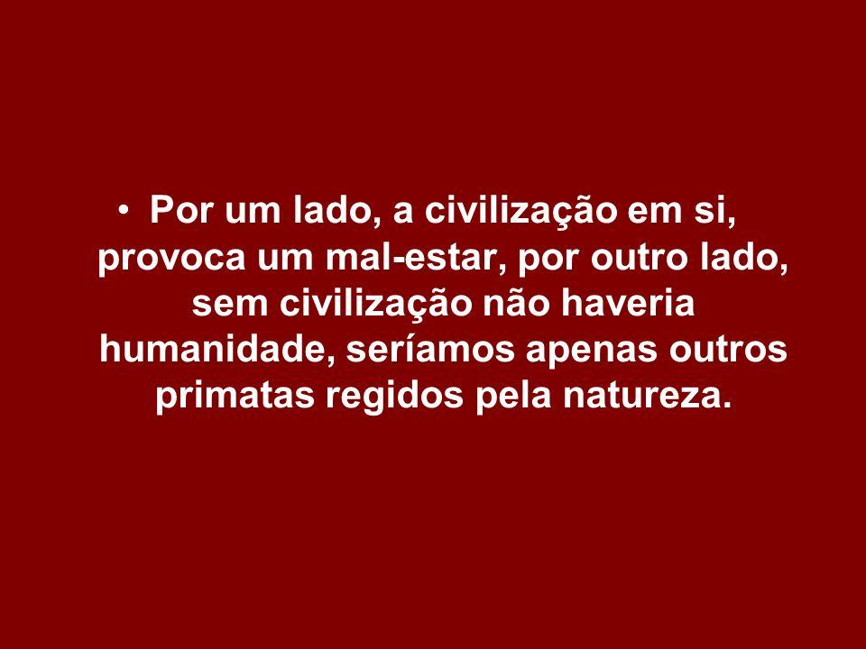 Por um lado, a civilização em si, provoca um mal-estar, por outro lado, sem civilização não haveria humanidade, seríamos apenas outros primatas regido