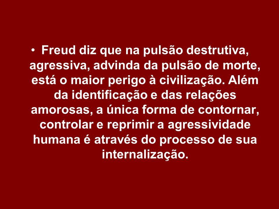 Freud diz que na pulsão destrutiva, agressiva, advinda da pulsão de morte, está o maior perigo à civilização. Além da identificação e das relações amo