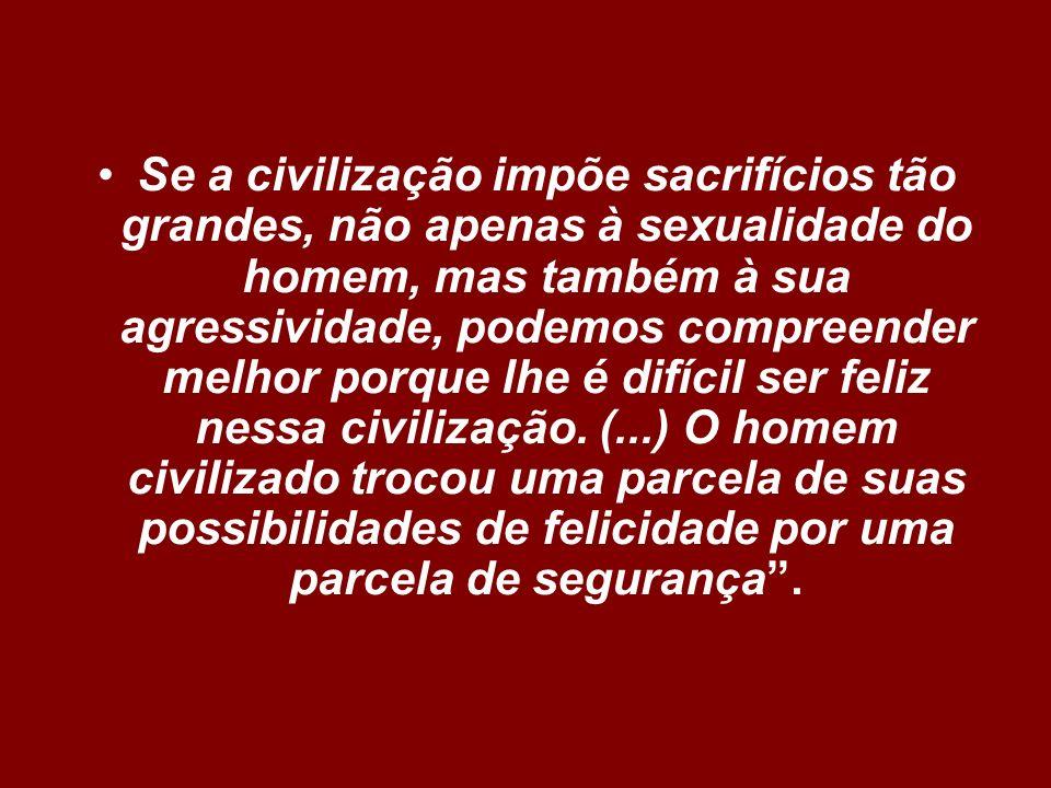 Se a civilização impõe sacrifícios tão grandes, não apenas à sexualidade do homem, mas também à sua agressividade, podemos compreender melhor porque l