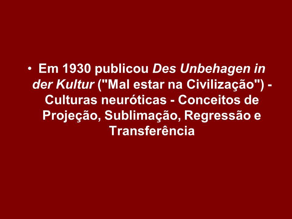 Em 1930 publicou Des Unbehagen in der Kultur (