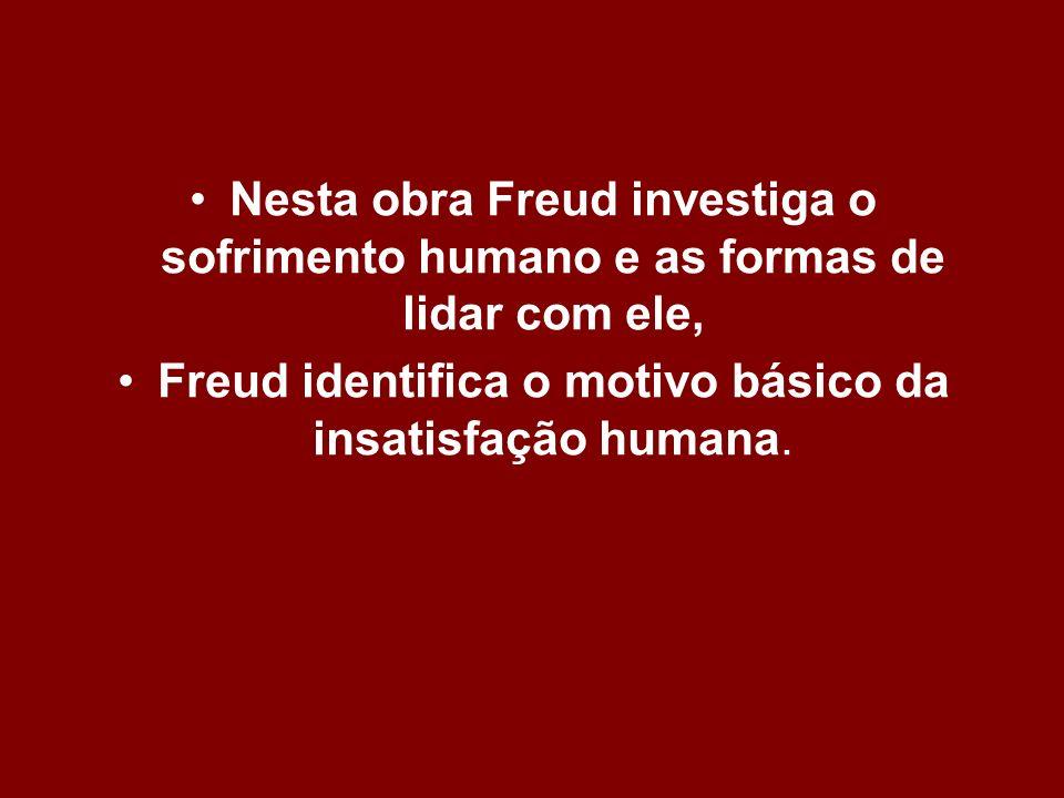 Nesta obra Freud investiga o sofrimento humano e as formas de lidar com ele, Freud identifica o motivo básico da insatisfação humana.