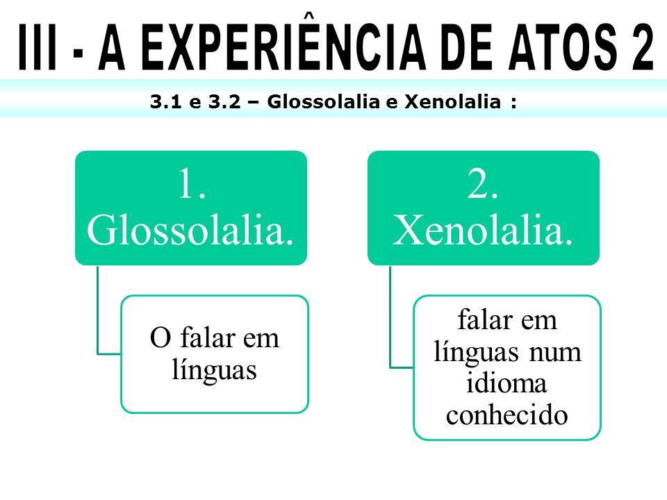 3.1 e 3.2 – Glossolalia e Xenolalia : 1. Glossolalia. O falar em línguas 2. Xenolalia. falar em línguas num idioma conhecido