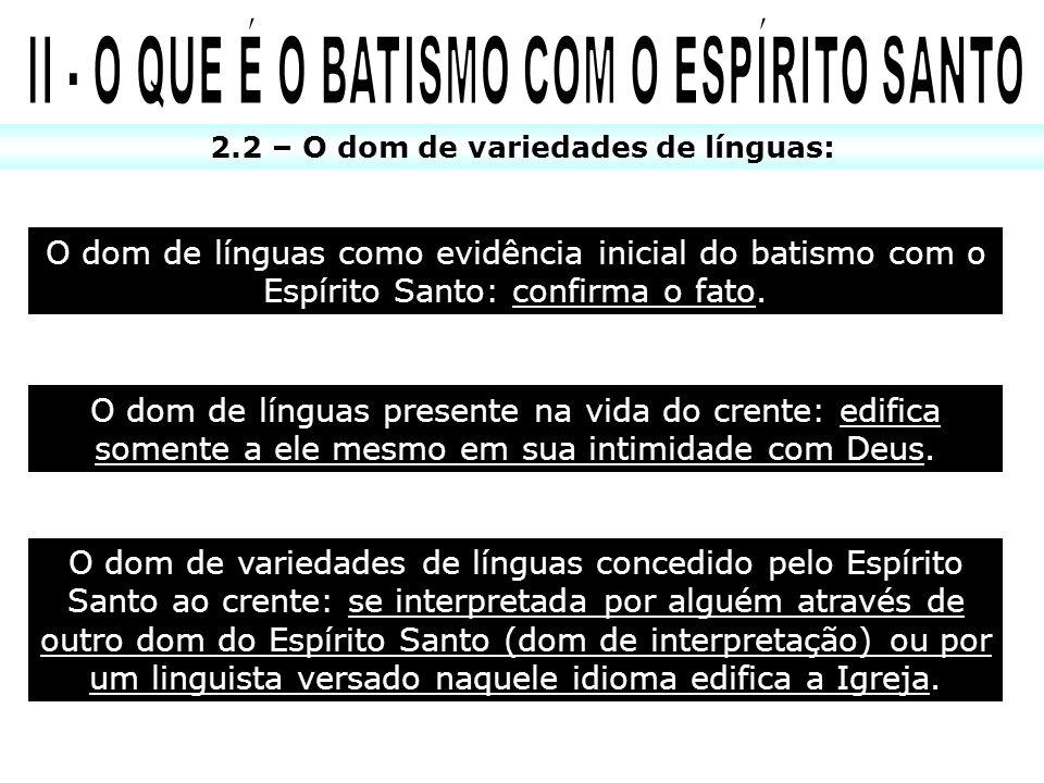 O dom de línguas como evidência inicial do batismo com o Espírito Santo: confirma o fato. 2.2 – O dom de variedades de línguas: O dom de línguas prese