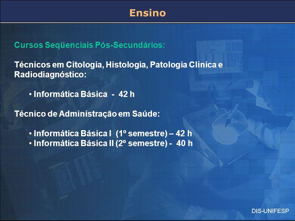 Cursos Seqüenciais Pós-Secundários: Técnicos em Citologia, Histologia, Patologia Clinica e Radiodiagnóstico: Informática Básica - 42 h Técnico de Admi