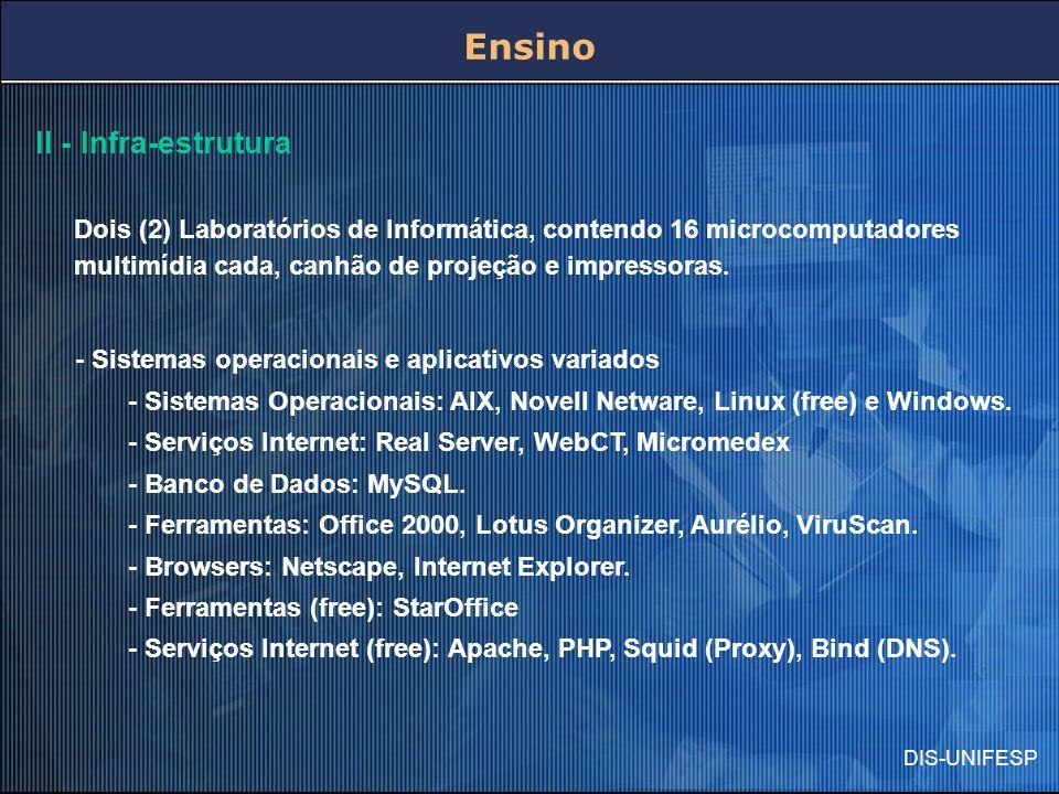 DIS-UNIFESP Ensino II - Infra-estrutura Dois (2) Laboratórios de Informática, contendo 16 microcomputadores multimídia cada, canhão de projeção e impr