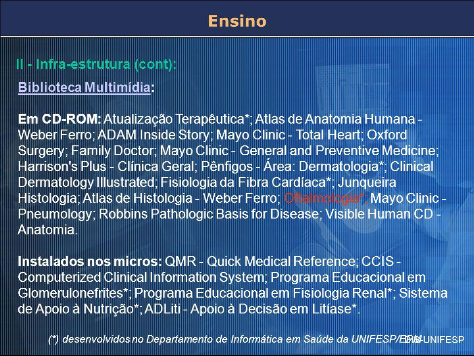 DIS-UNIFESP II - Infra-estrutura (cont): Biblioteca MultimídiaBiblioteca Multimídia: Em CD-ROM: Atualização Terapêutica*; Atlas de Anatomia Humana - W