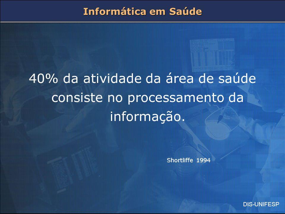 DIS-UNIFESP Informática em Saúde 40% da atividade da área de saúde consiste no processamento da informação. Shortliffe 1994