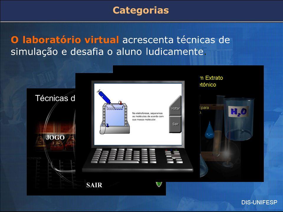 DIS-UNIFESP O laboratório virtual acrescenta técnicas de simulação e desafia o aluno ludicamente. Categorias
