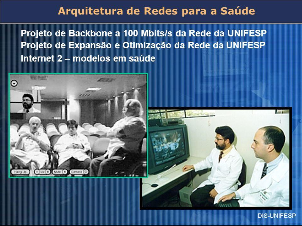 DIS-UNIFESP Projeto de Backbone a 100 Mbits/s da Rede da UNIFESP Projeto de Expansão e Otimização da Rede da UNIFESP Internet 2 – modelos em saúde Arq