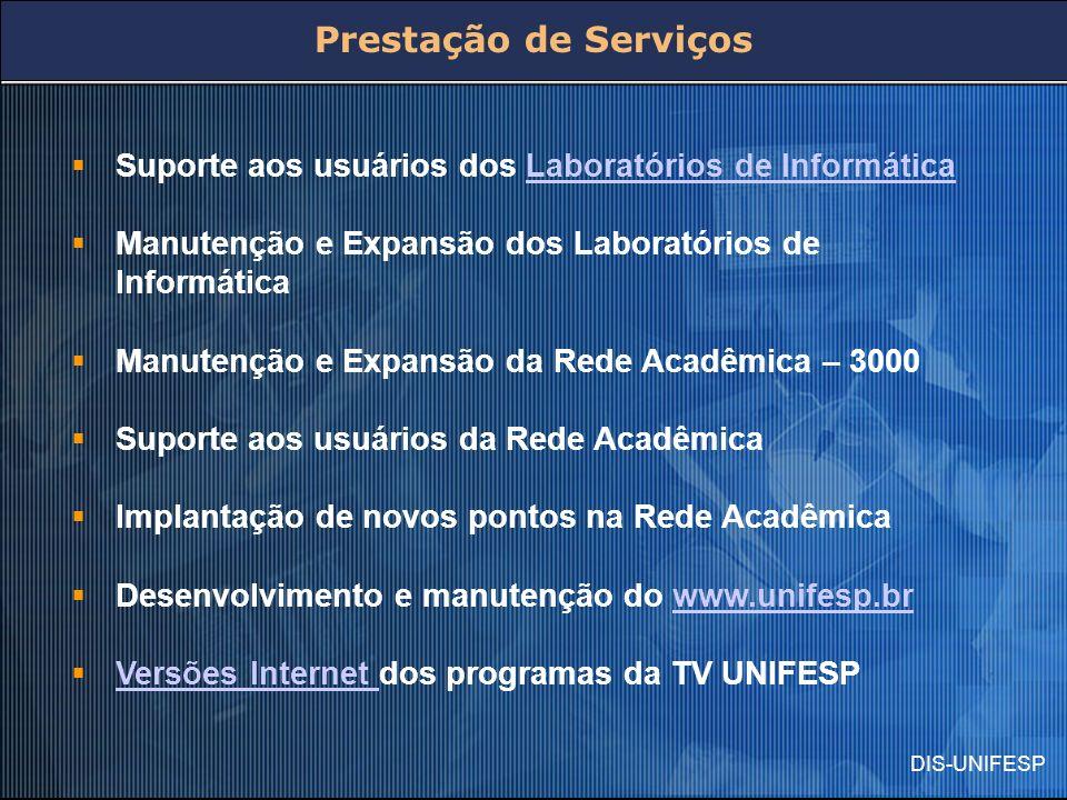 DIS-UNIFESP Prestação de Serviços Suporte aos usuários dos Laboratórios de InformáticaLaboratórios de Informática Manutenção e Expansão dos Laboratóri
