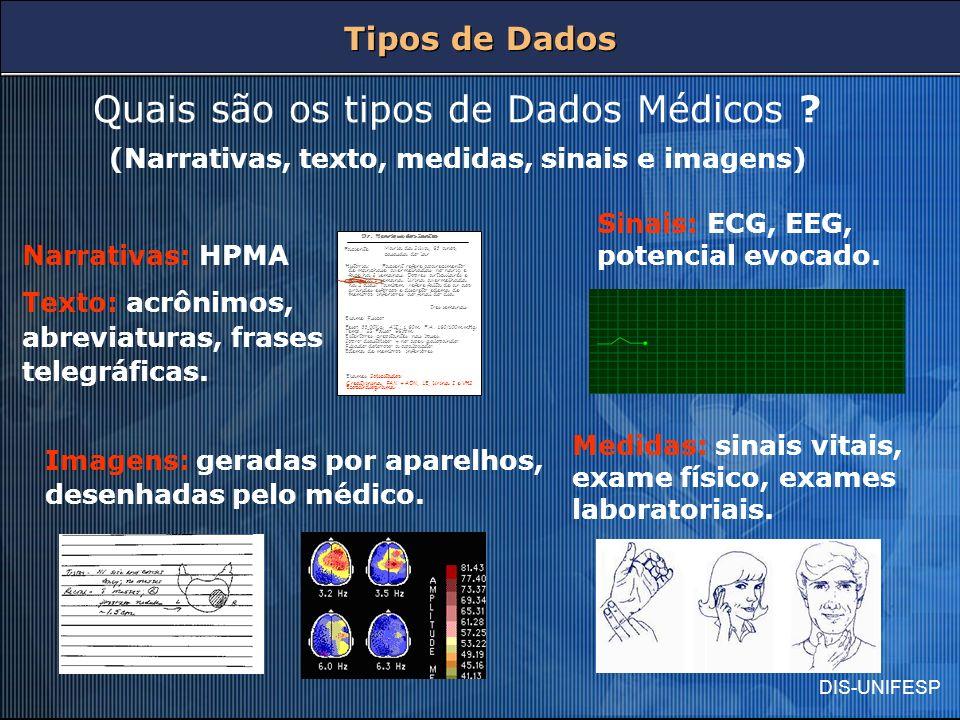 DIS-UNIFESP Tipos de Dados Quais são os tipos de Dados Médicos ? (Narrativas, texto, medidas, sinais e imagens) Dr. Henrique dos Santos Maria da Silva