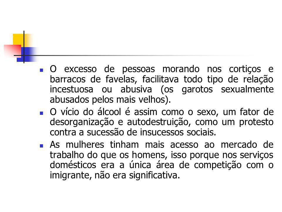 O excesso de pessoas morando nos cortiços e barracos de favelas, facilitava todo tipo de relação incestuosa ou abusiva (os garotos sexualmente abusado