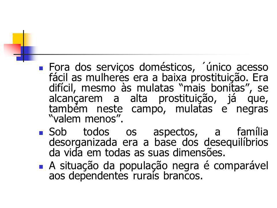 Fora dos serviços domésticos, ´único acesso fácil as mulheres era a baixa prostituição. Era difícil, mesmo às mulatas mais bonitas, se alcançarem a al