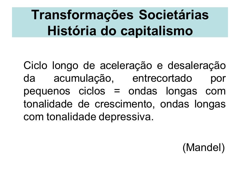 Transformações Societárias História do capitalismo Ciclo longo de aceleração e desaleração da acumulação, entrecortado por pequenos ciclos = ondas lon