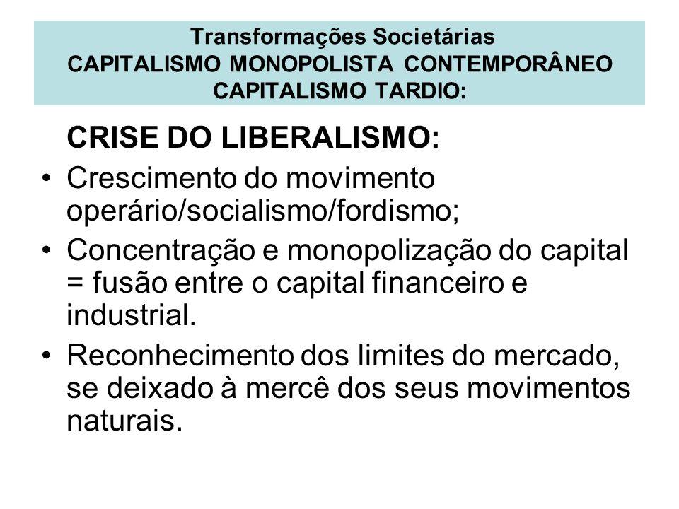 Transformações Societárias CAPITALISMO MONOPOLISTA CONTEMPORÂNEO CAPITALISMO TARDIO: CRISE DO LIBERALISMO: Crescimento do movimento operário/socialism