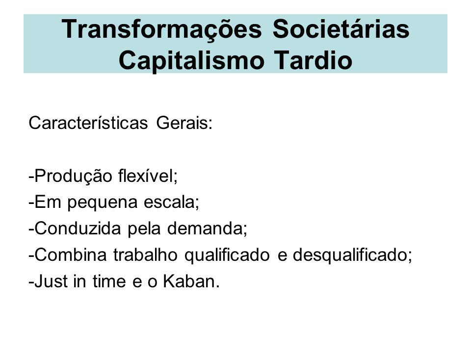 Transformações Societárias Capitalismo Tardio Características Gerais: -Produção flexível; -Em pequena escala; -Conduzida pela demanda; -Combina trabal