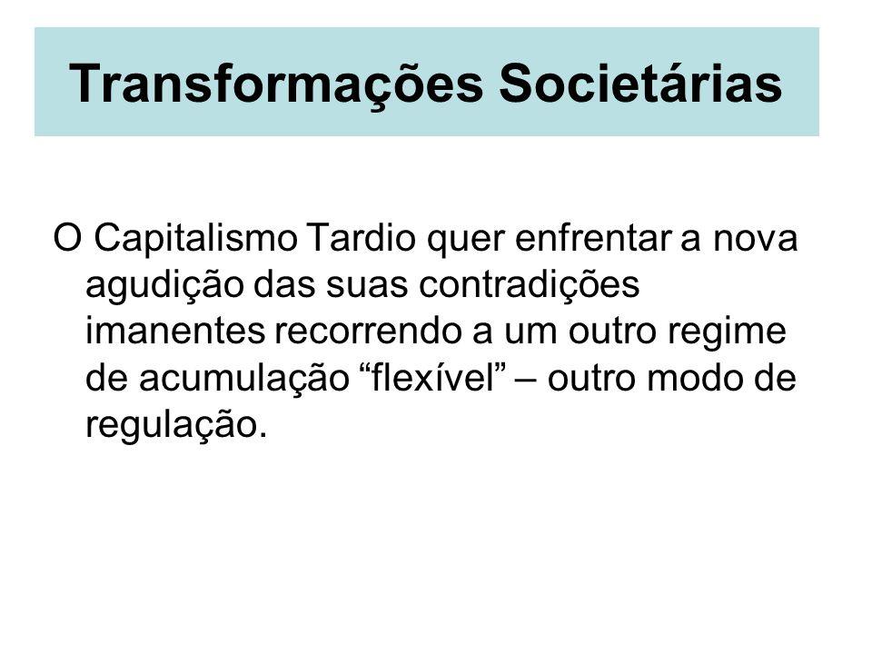Transformações Societárias O Capitalismo Tardio quer enfrentar a nova agudição das suas contradições imanentes recorrendo a um outro regime de acumula
