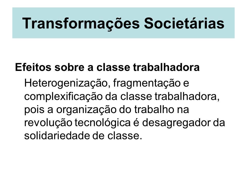 Transformações Societárias Efeitos sobre a classe trabalhadora Heterogenização, fragmentação e complexificação da classe trabalhadora, pois a organiza