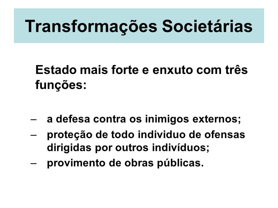 Transformações Societárias Estado mais forte e enxuto com três funções: –a defesa contra os inimigos externos; –proteção de todo individuo de ofensas
