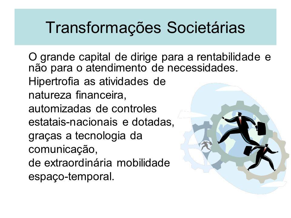 Transformações Societárias O grande capital de dirige para a rentabilidade e não para o atendimento de necessidades. Hipertrofia as atividades de natu