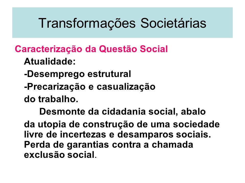 Transformações Societárias Caracterização da Questão Social Atualidade: -Desemprego estrutural -Precarização e casualização do trabalho. Desmonte da c