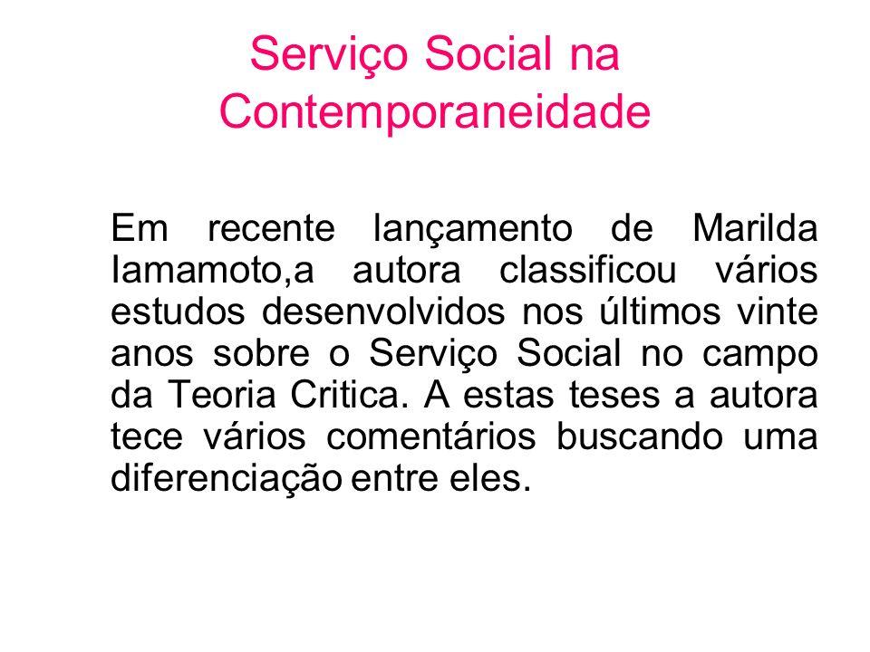 Serviço Social na Contemporaneidade Em recente lançamento de Marilda Iamamoto,a autora classificou vários estudos desenvolvidos nos últimos vinte anos
