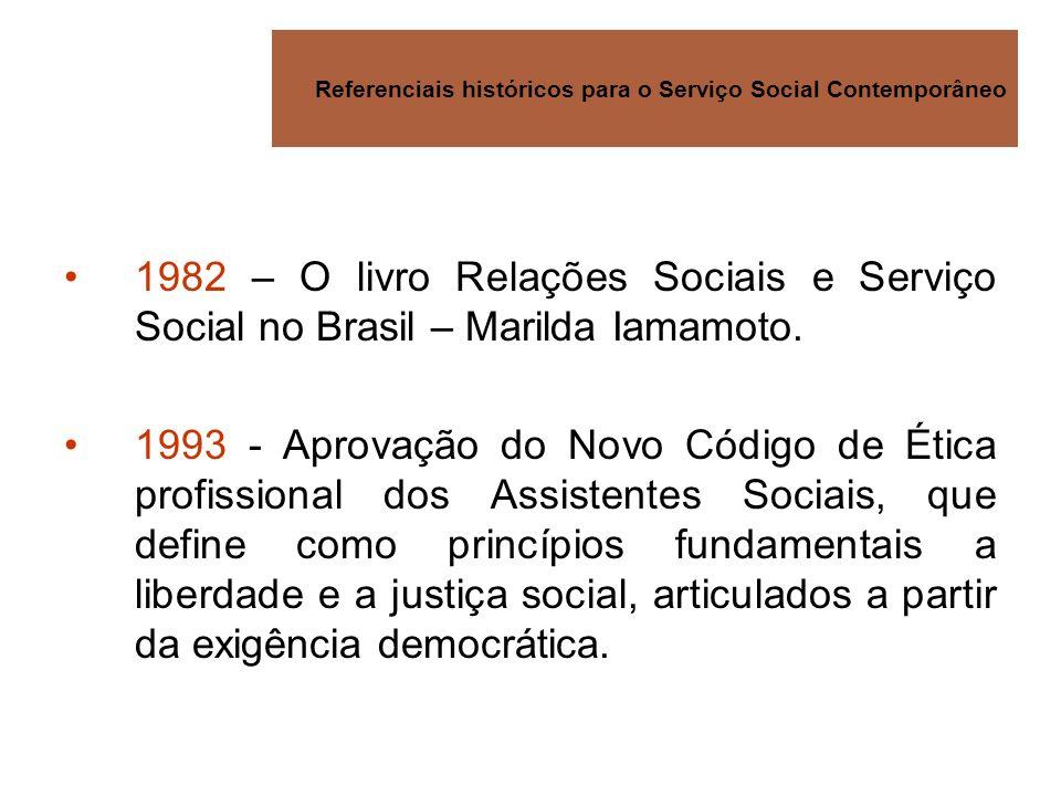 Referenciais históricos para o Serviço Social Contemporâneo 1982 – O livro Relações Sociais e Serviço Social no Brasil – Marilda Iamamoto. 1993 - Apro