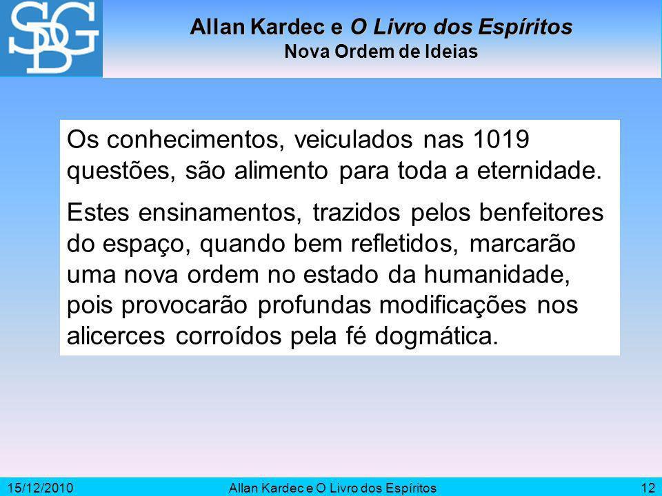 15/12/2010Allan Kardec e O Livro dos Espíritos12 Os conhecimentos, veiculados nas 1019 questões, são alimento para toda a eternidade. Estes ensinament