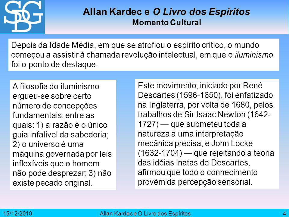 15/12/2010Allan Kardec e O Livro dos Espíritos4 Momento Cultural Depois da Idade Média, em que se atrofiou o espírito crítico, o mundo começou a assis