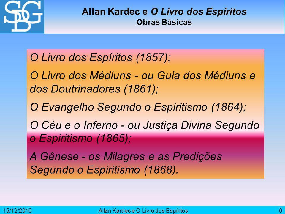 15/12/2010Allan Kardec e O Livro dos Espíritos6 Obras Básicas O Livro dos Espíritos (1857); O Livro dos Médiuns - ou Guia dos Médiuns e dos Doutrinado