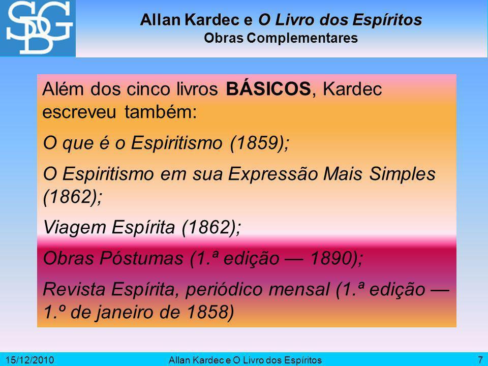 15/12/2010Allan Kardec e O Livro dos Espíritos7 Obras Complementares Além dos cinco livros BÁSICOS, Kardec escreveu também: O que é o Espiritismo (185